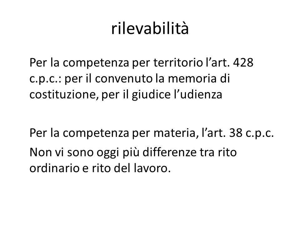 rilevabilità Per la competenza per territorio l'art. 428 c.p.c.: per il convenuto la memoria di costituzione, per il giudice l'udienza Per la competen