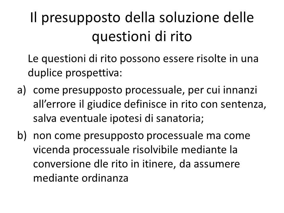 Il presupposto della soluzione delle questioni di rito Le questioni di rito possono essere risolte in una duplice prospettiva: a)come presupposto proc