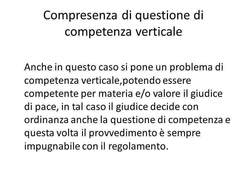 Compresenza di questione di competenza verticale Anche in questo caso si pone un problema di competenza verticale,potendo essere competente per materi