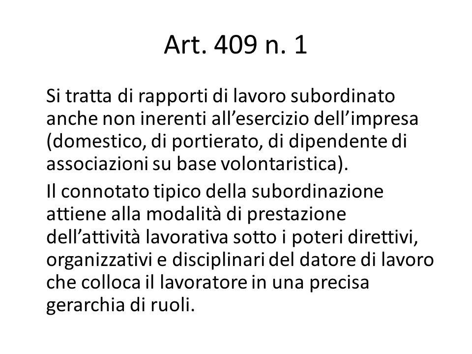 Art. 409 n. 1 Si tratta di rapporti di lavoro subordinato anche non inerenti all'esercizio dell'impresa (domestico, di portierato, di dipendente di as