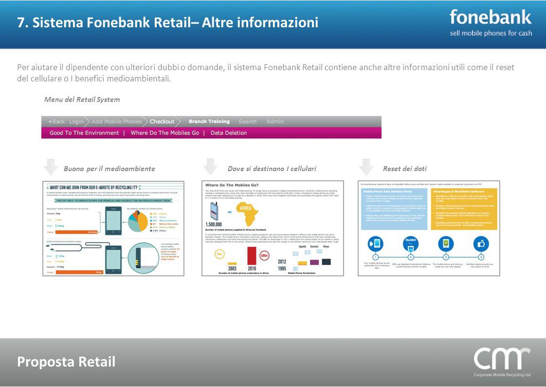 7. Sistema Fonebank Retail– Altre informazioni Proposta Retail Per aiutare il dipendente con ulteriori dubbi o domande, il sistema Fonebank Retail con