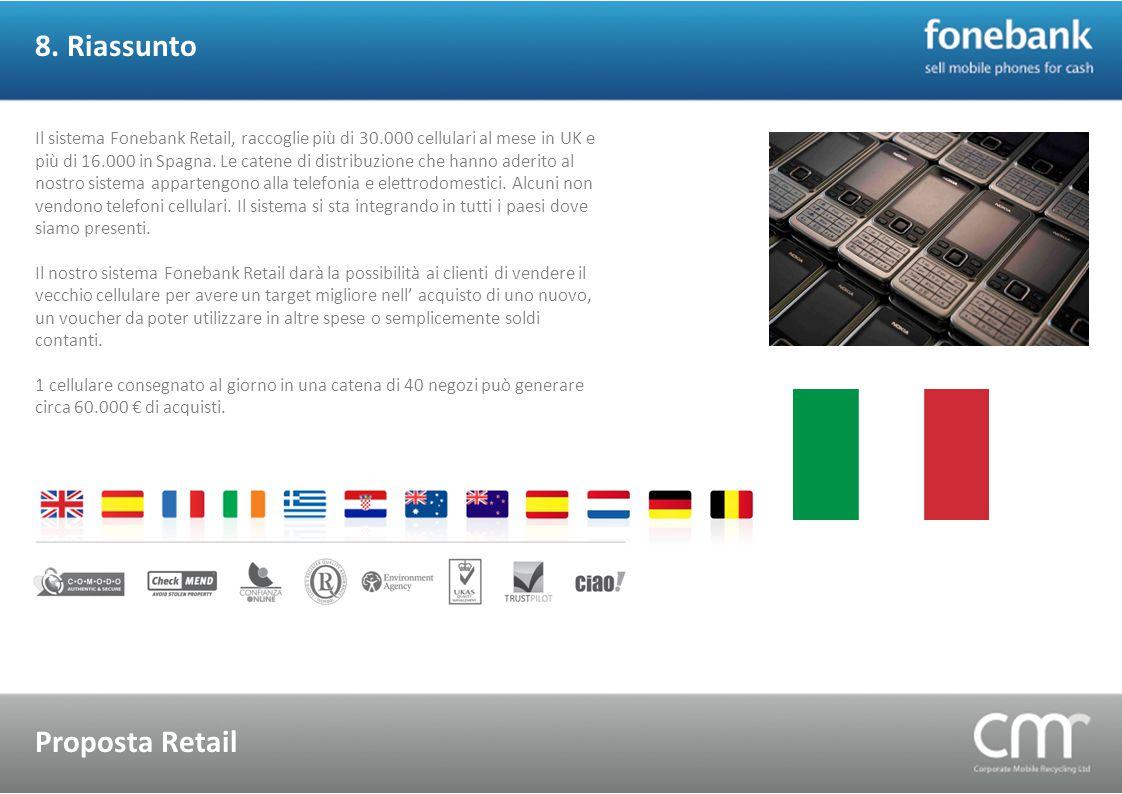 8. Riassunto Proposta Retail Il sistema Fonebank Retail, raccoglie più di 30.000 cellulari al mese in UK e più di 16.000 in Spagna. Le catene di distr