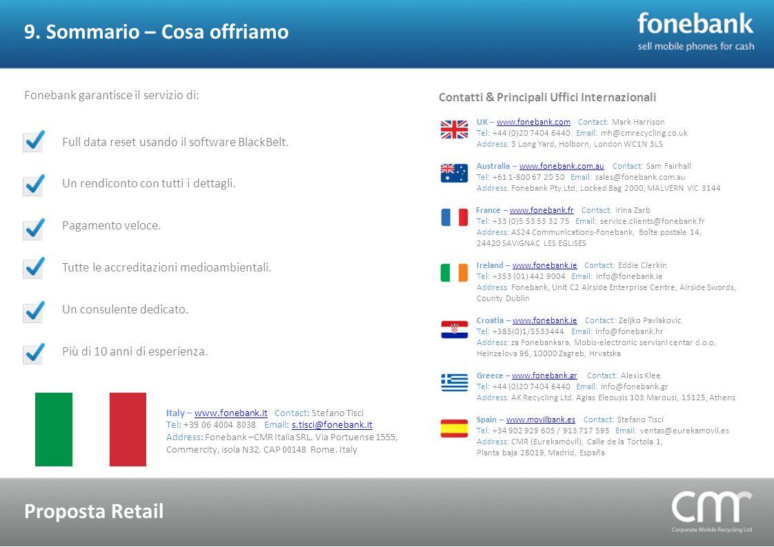 9. Sommario – Cosa offriamo Proposta Retail Fonebank garantisce il servizio di: Full data reset usando il software BlackBelt. Un rendiconto con tutti