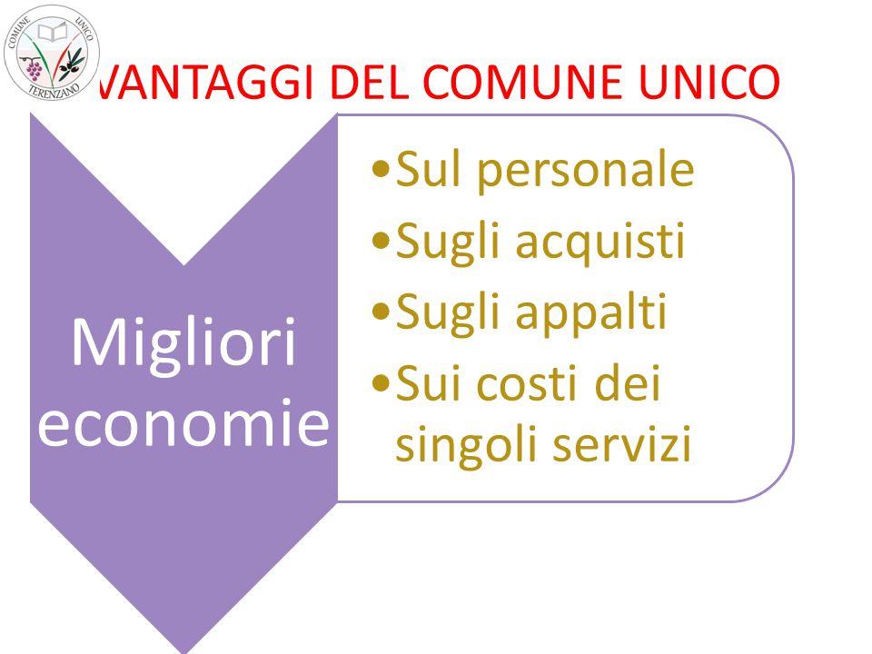 VANTAGGI DEL COMUNE UNICO Migliori economie Sul personale Sugli acquisti Sugli appalti Sui costi dei singoli servizi