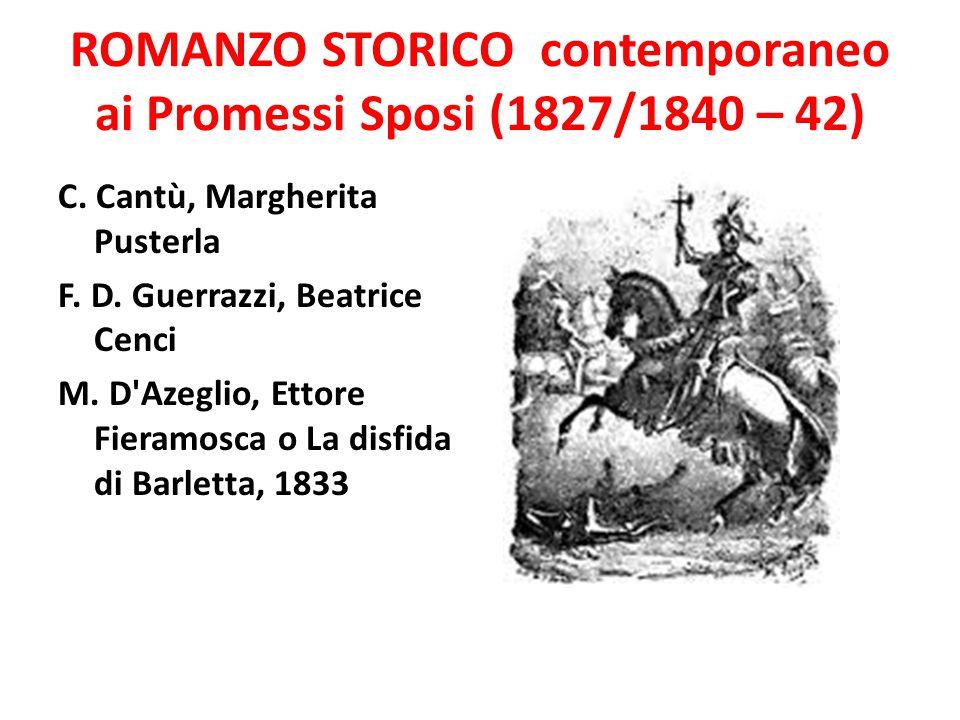 ROMANZO STORICO contemporaneo ai Promessi Sposi (1827/1840 – 42) C. Cantù, Margherita Pusterla F. D. Guerrazzi, Beatrice Cenci M. D'Azeglio, Ettore Fi