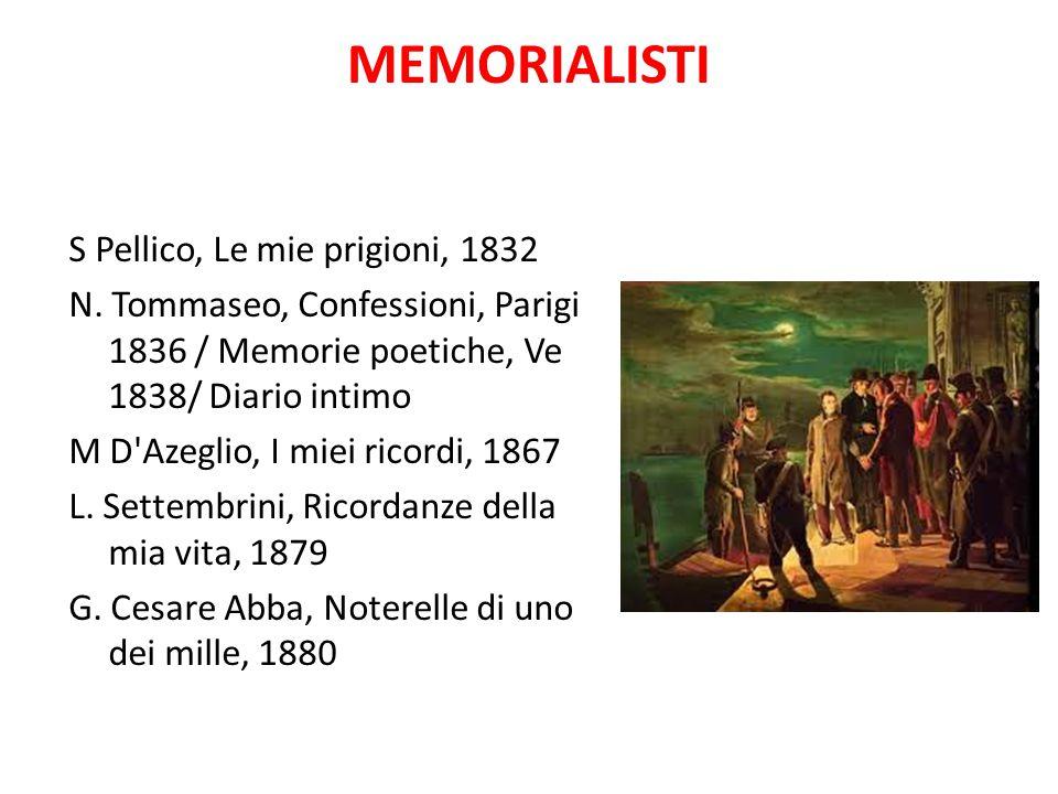 MEMORIALISTI S Pellico, Le mie prigioni, 1832 N. Tommaseo, Confessioni, Parigi 1836 / Memorie poetiche, Ve 1838/ Diario intimo M D'Azeglio, I miei ric