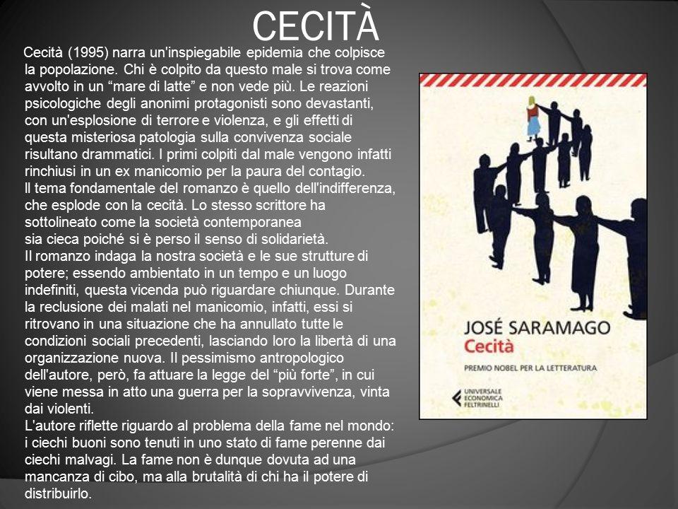"""CECITÀ Cecità (1995) narra un'inspiegabile epidemia che colpisce la popolazione. Chi è colpito da questo male si trova come avvolto in un """"mare di lat"""