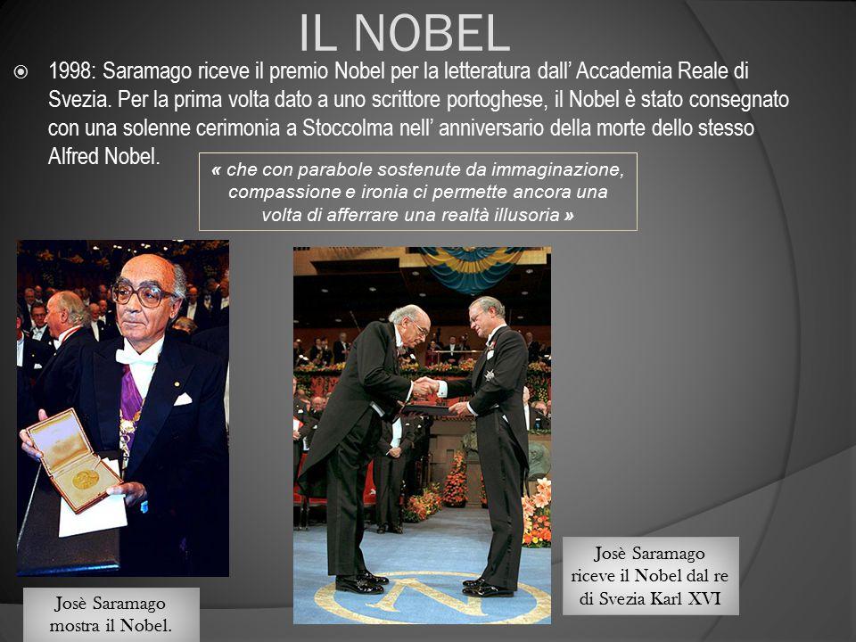 IL NOBEL  1998: Saramago riceve il premio Nobel per la letteratura dall' Accademia Reale di Svezia. Per la prima volta dato a uno scrittore portoghes