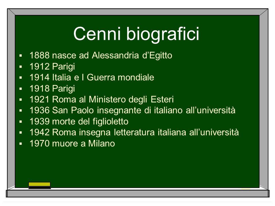 Cenni biografici  1888 nasce ad Alessandria d'Egitto  1912 Parigi  1914 Italia e I Guerra mondiale  1918 Parigi  1921 Roma al Ministero degli Est