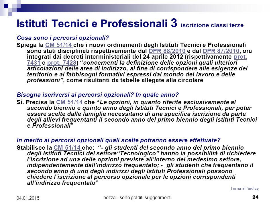 bozza - sono graditi suggerimenti24 04.01.2015 Istituti Tecnici e Professionali 3 iscrizione classi terze Cosa sono i percorsi opzionali.