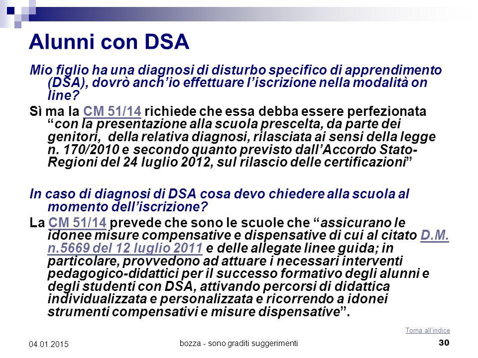 bozza - sono graditi suggerimenti30 04.01.2015 Alunni con DSA Mio figlio ha una diagnosi di disturbo specifico di apprendimento (DSA), dovrò anch'io effettuare l'iscrizione nella modalità on line.