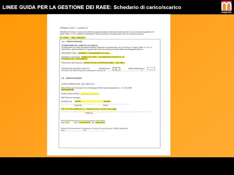 LINEE GUIDA PER LA GESTIONE DEI RAEE: Documento di trasporto