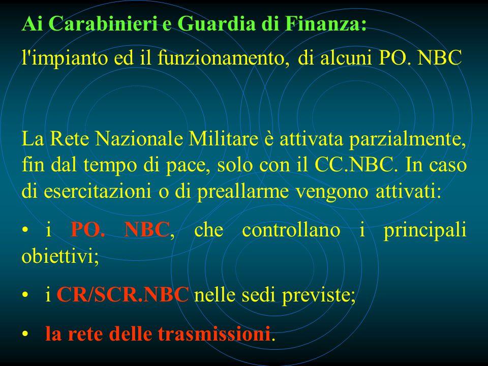 Ai Carabinieri e Guardia di Finanza: l impianto ed il funzionamento, di alcuni PO.