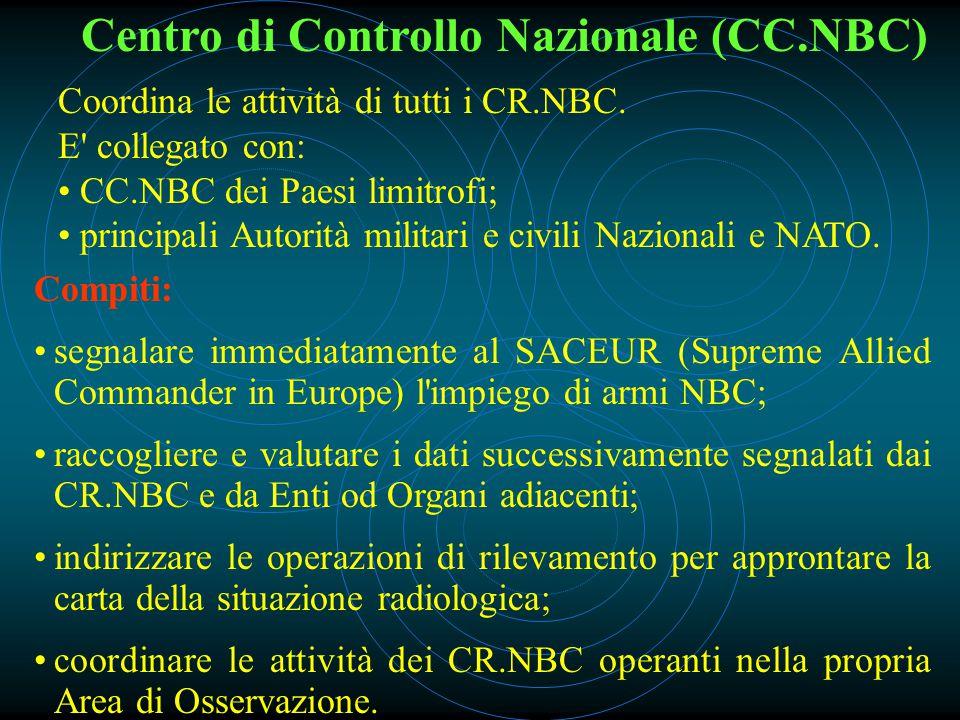 Centro di Controllo Nazionale (CC.NBC) Coordina le attività di tutti i CR.NBC.