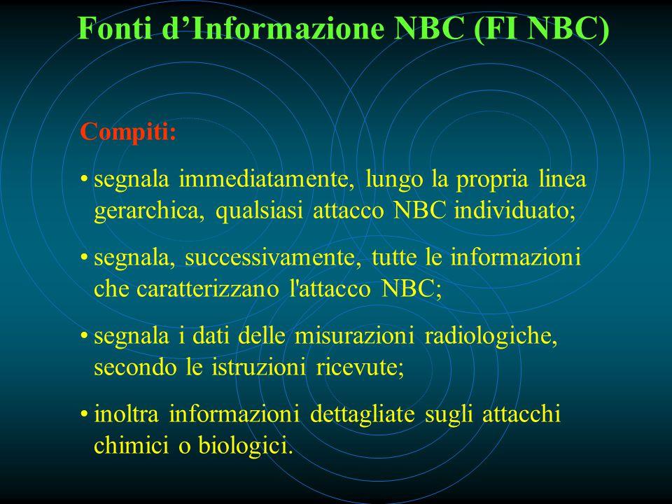 Fonti d'Informazione NBC (FI NBC) Compiti: segnala immediatamente, lungo la propria linea gerarchica, qualsiasi attacco NBC individuato; segnala, successivamente, tutte le informazioni che caratterizzano l attacco NBC; segnala i dati delle misurazioni radiologiche, secondo le istruzioni ricevute; inoltra informazioni dettagliate sugli attacchi chimici o biologici.