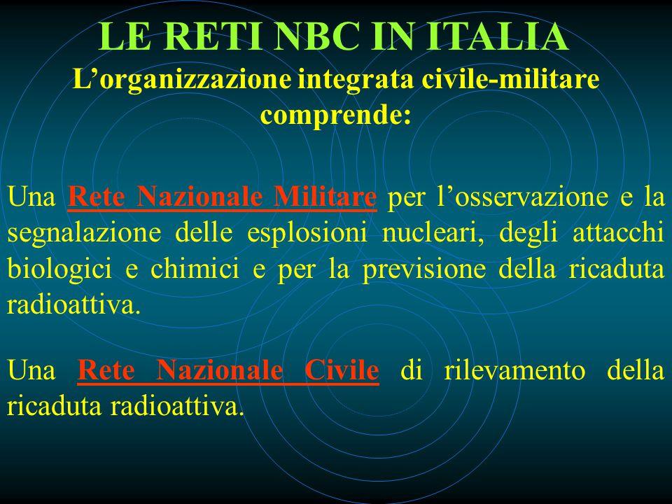 LE RETI NBC IN ITALIA L'organizzazione integrata civile-militare comprende: Una Rete Nazionale Militare per l'osservazione e la segnalazione delle esplosioni nucleari, degli attacchi biologici e chimici e per la previsione della ricaduta radioattiva.
