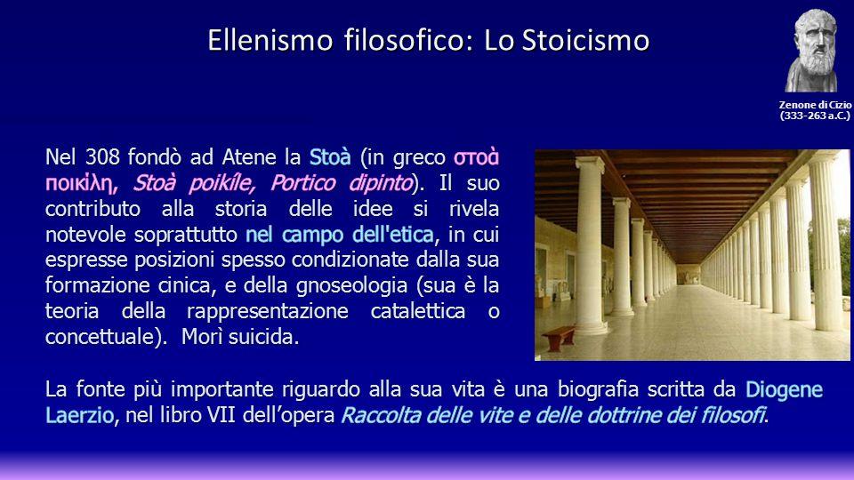 La seguente cronologia mostra le varie fasi dello stoicismo e i personaggi più rappresentativi di ognuna di esse: Stoicismo Antico (III sec.