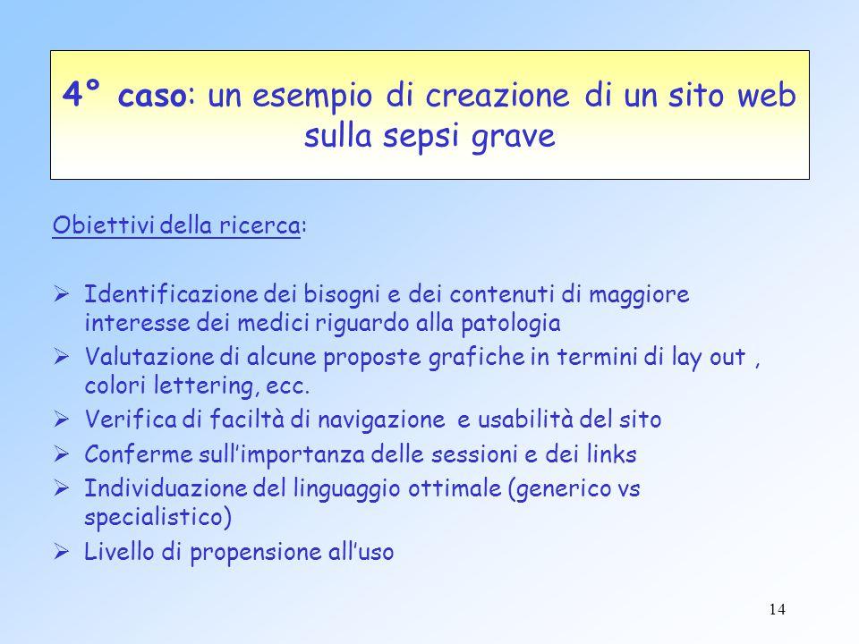 14 4° caso: un esempio di creazione di un sito web sulla sepsi grave Obiettivi della ricerca:  Identificazione dei bisogni e dei contenuti di maggior