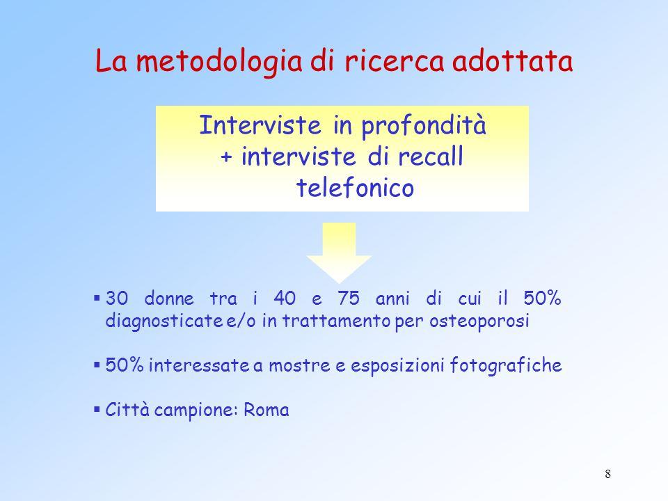 8 La metodologia di ricerca adottata Interviste in profondità + interviste di recall telefonico  30 donne tra i 40 e 75 anni di cui il 50% diagnostic