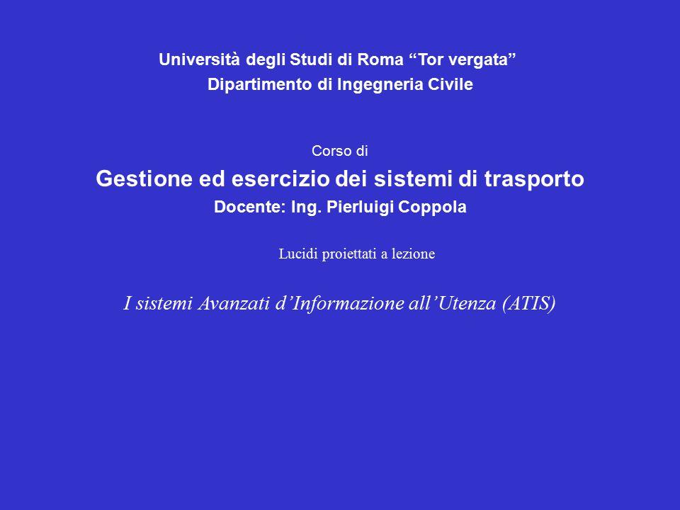 Università degli Studi di Roma Tor vergata Dipartimento di Ingegneria Civile Corso di Gestione ed esercizio dei sistemi di trasporto Docente: Ing.
