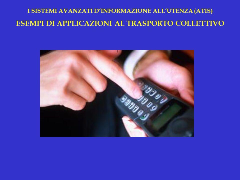 I SISTEMI AVANZATI D'INFORMAZIONE ALL'UTENZA (ATIS) COMPONENTI Centrale operativa Sistema di monitoraggio Sistema di comunicazione Interfacce Utente informazioni Indicatori di prestazione Dati di sistema Sistema di monitoraggio