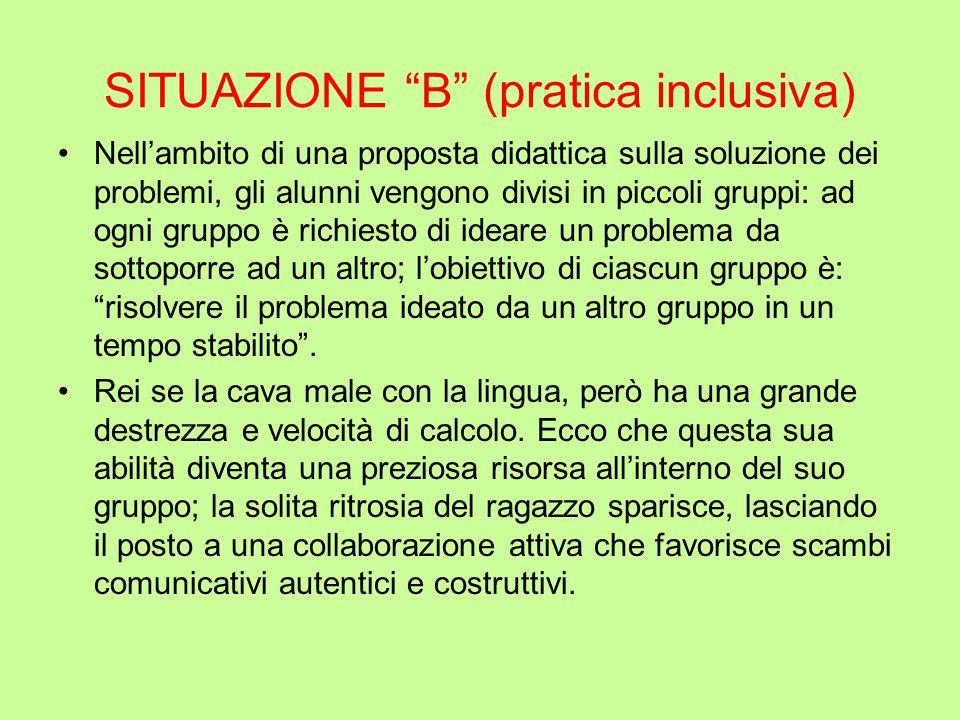 """SITUAZIONE """"B"""" (pratica inclusiva) Nell'ambito di una proposta didattica sulla soluzione dei problemi, gli alunni vengono divisi in piccoli gruppi: ad"""