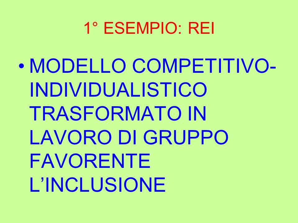 1° ESEMPIO: REI MODELLO COMPETITIVO- INDIVIDUALISTICO TRASFORMATO IN LAVORO DI GRUPPO FAVORENTE L'INCLUSIONE