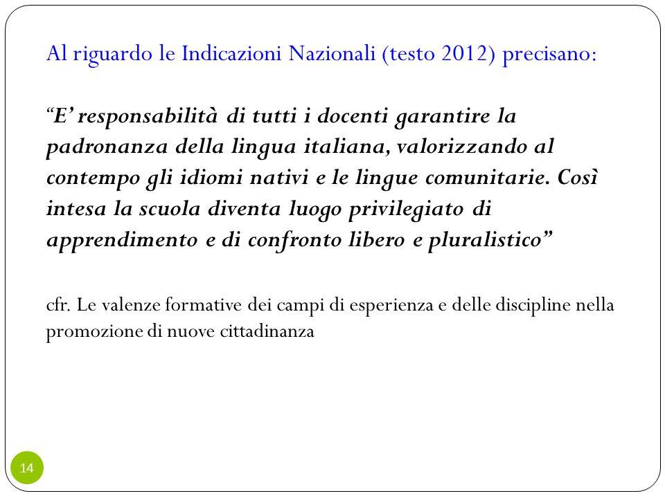Al riguardo le Indicazioni Nazionali (testo 2012) precisano: E' responsabilità di tutti i docenti garantire la padronanza della lingua italiana, valorizzando al contempo gli idiomi nativi e le lingue comunitarie.