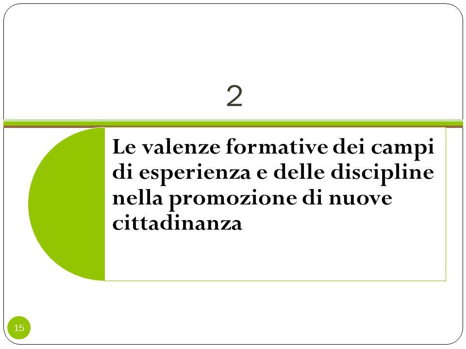 2 15 Le valenze formative dei campi di esperienza e delle discipline nella promozione di nuove cittadinanza
