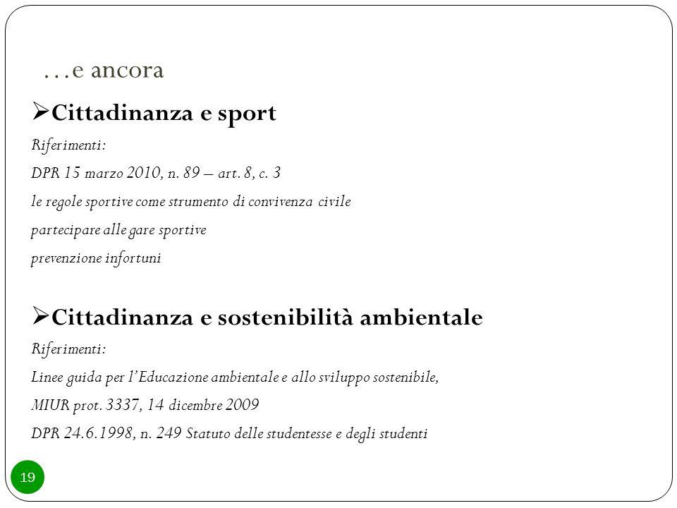 …e ancora  Cittadinanza e sport Riferimenti: DPR 15 marzo 2010, n.