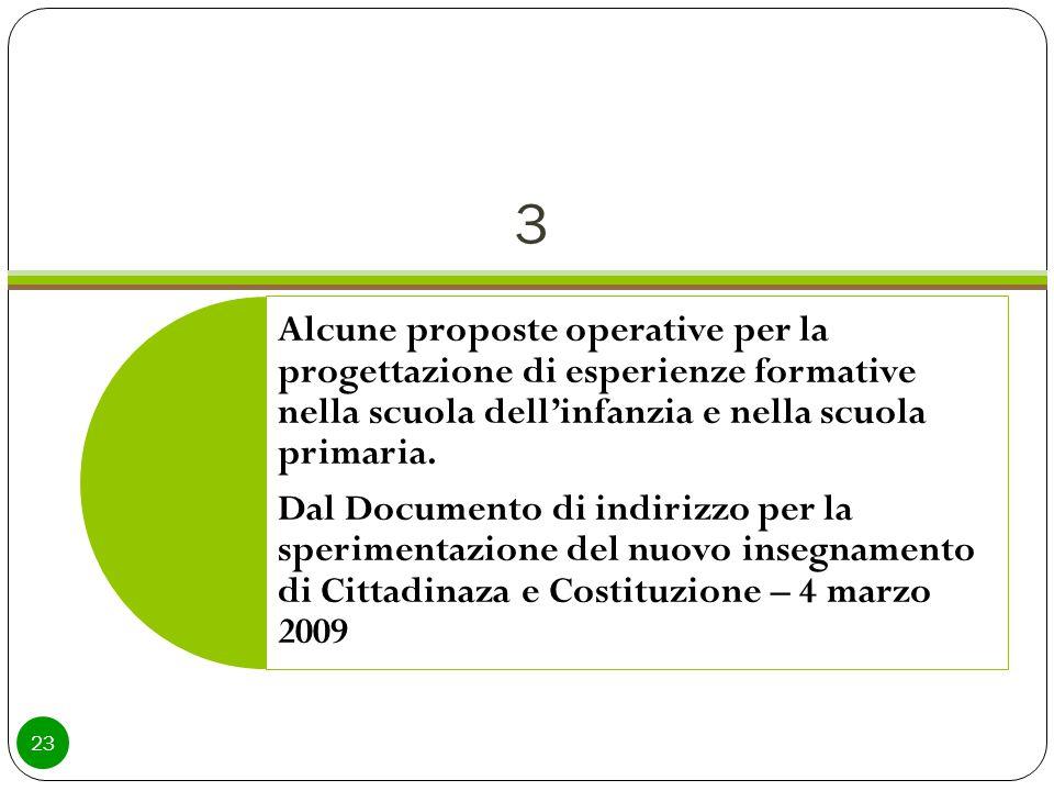 3 23 Alcune proposte operative per la progettazione di esperienze formative nella scuola dell'infanzia e nella scuola primaria.
