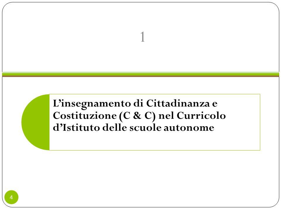 L'insegnamento di Cittadinanza e Costituzione (C & C) nel Curricolo d'Istituto delle scuole autonome 1 4