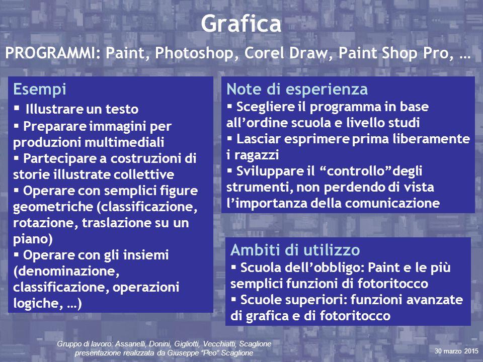 """30 marzo 2015 Gruppo di lavoro: Assanelli, Donini, Gigliotti, Vecchiatti, Scaglione presentazione realizzata da Giuseppe """"Peo"""" Scaglione Grafica PROGR"""