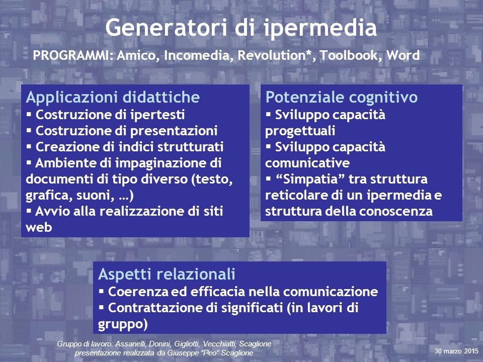 """30 marzo 2015 Gruppo di lavoro: Assanelli, Donini, Gigliotti, Vecchiatti, Scaglione presentazione realizzata da Giuseppe """"Peo"""" Scaglione Generatori di"""