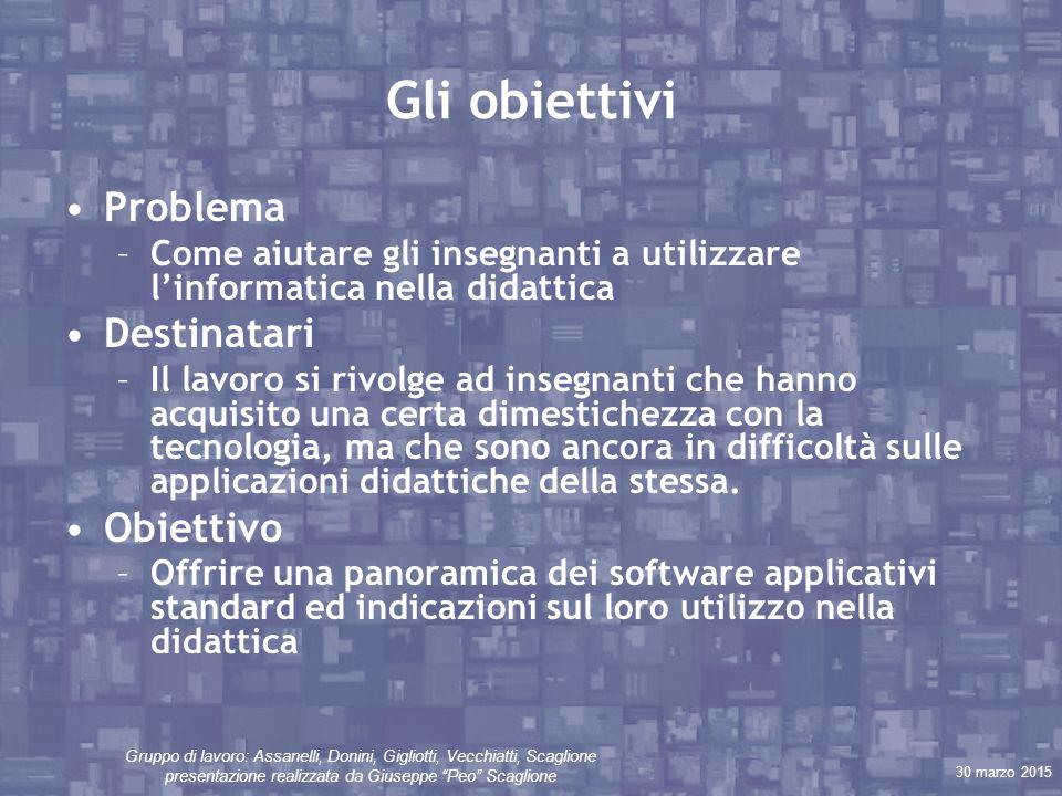 """30 marzo 2015 Gruppo di lavoro: Assanelli, Donini, Gigliotti, Vecchiatti, Scaglione presentazione realizzata da Giuseppe """"Peo"""" Scaglione Gli obiettivi"""
