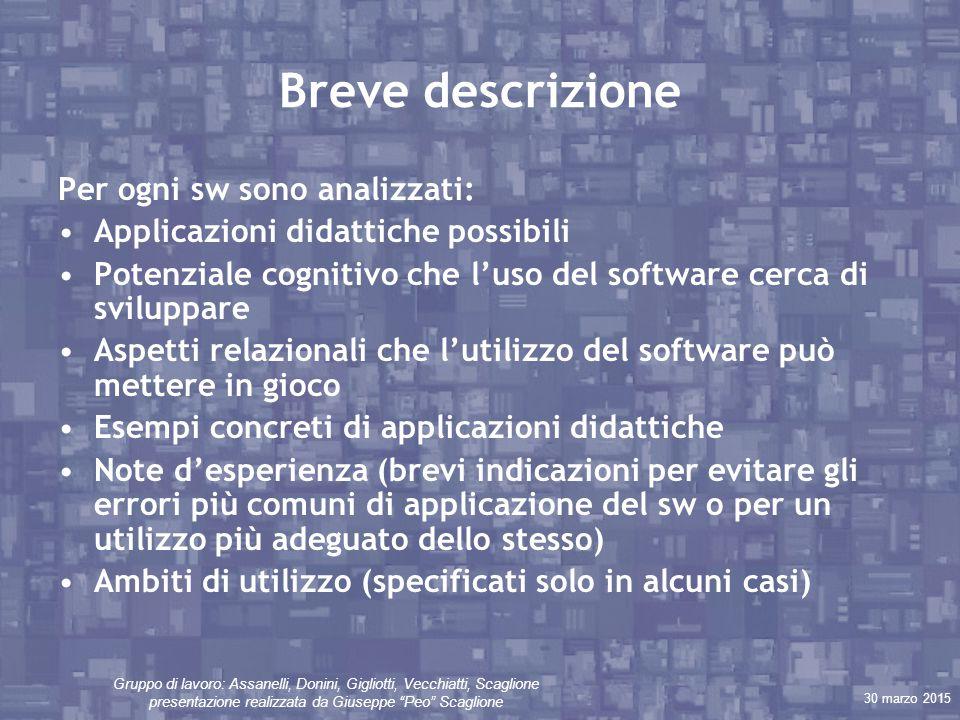 """30 marzo 2015 Gruppo di lavoro: Assanelli, Donini, Gigliotti, Vecchiatti, Scaglione presentazione realizzata da Giuseppe """"Peo"""" Scaglione Breve descriz"""