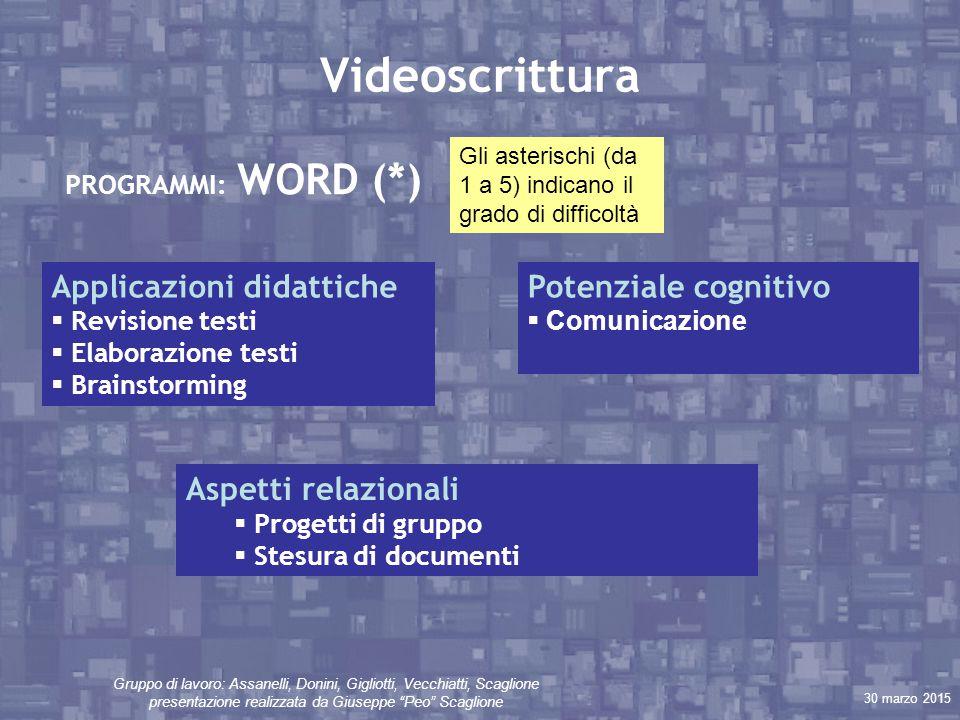 """30 marzo 2015 Gruppo di lavoro: Assanelli, Donini, Gigliotti, Vecchiatti, Scaglione presentazione realizzata da Giuseppe """"Peo"""" Scaglione Videoscrittur"""