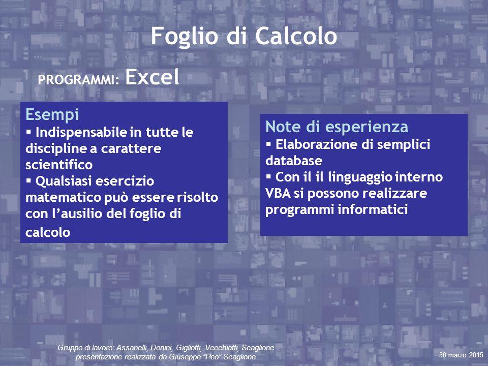 """30 marzo 2015 Gruppo di lavoro: Assanelli, Donini, Gigliotti, Vecchiatti, Scaglione presentazione realizzata da Giuseppe """"Peo"""" Scaglione Foglio di Cal"""