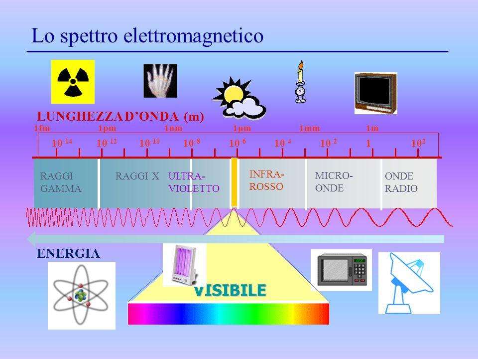 1fm 1pm 1nm 1μm 1mm 1m RAGGI GAMMA RAGGI XULTRA- VIOLETTO INFRA- ROSSO MICRO- ONDE RADIO Lo spettro elettromagnetico LUNGHEZZA D'ONDA (m) VISIBILE 10