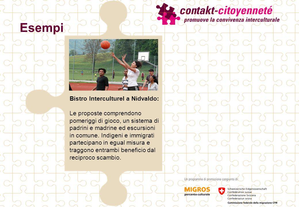Esempi Bistro Interculturel a Nidvaldo: Le proposte comprendono pomeriggi di gioco, un sistema di padrini e madrine ed escursioni in comune. Indigeni