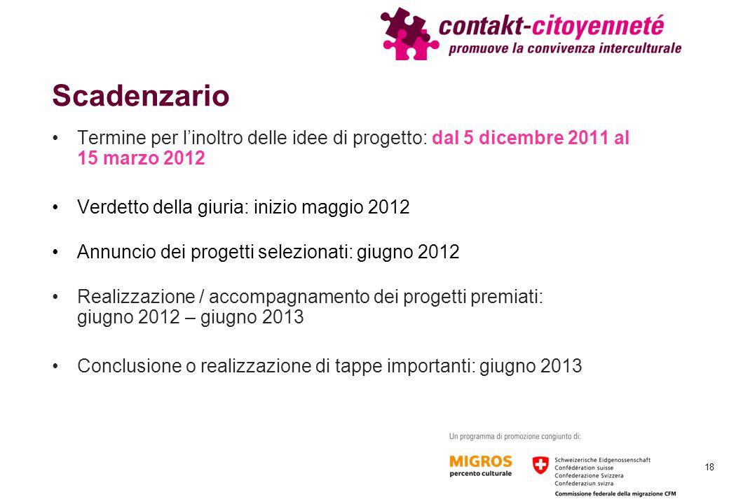 Scadenzario Termine per l'inoltro delle idee di progetto: dal 5 dicembre 2011 al 15 marzo 2012 Verdetto della giuria: inizio maggio 2012 Annuncio dei