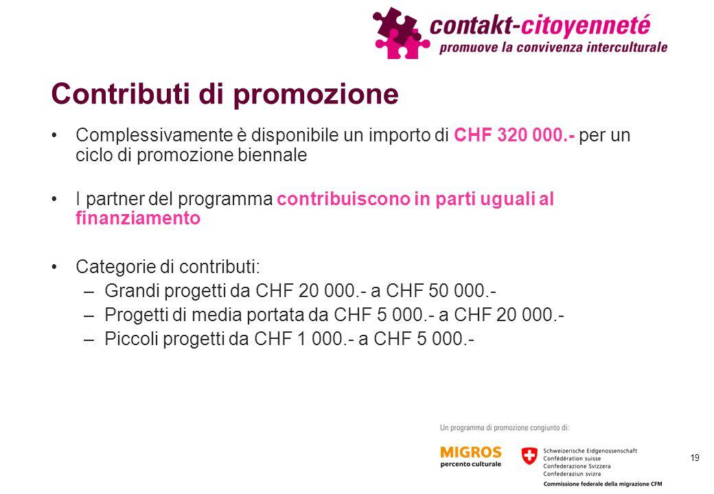 Contributi di promozione Complessivamente è disponibile un importo di CHF 320 000.- per un ciclo di promozione biennale I partner del programma contri