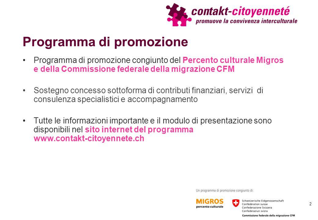 Programma di promozione Programma di promozione congiunto del Percento culturale Migros e della Commissione federale della migrazione CFM Sostegno con