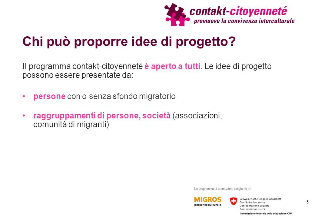 Chi può proporre idee di progetto? Il programma contakt-citoyenneté è aperto a tutti. Le idee di progetto possono essere presentate da: persone con o