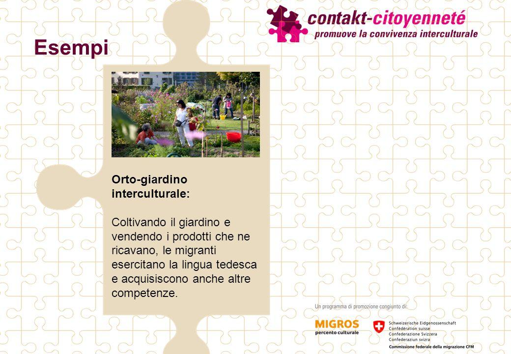 Orto-giardino interculturale: Coltivando il giardino e vendendo i prodotti che ne ricavano, le migranti esercitano la lingua tedesca e acquisiscono anche altre competenze.