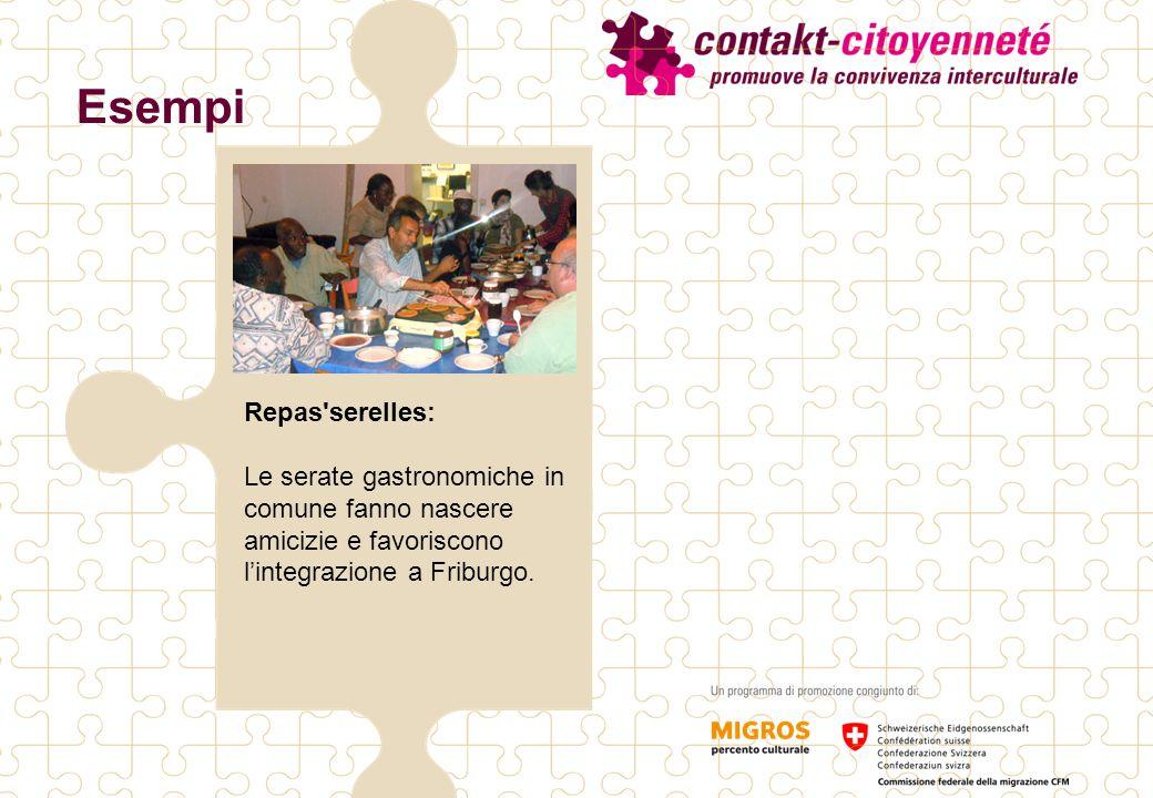 Esempi Repas serelles: Le serate gastronomiche in comune fanno nascere amicizie e favoriscono l'integrazione a Friburgo.