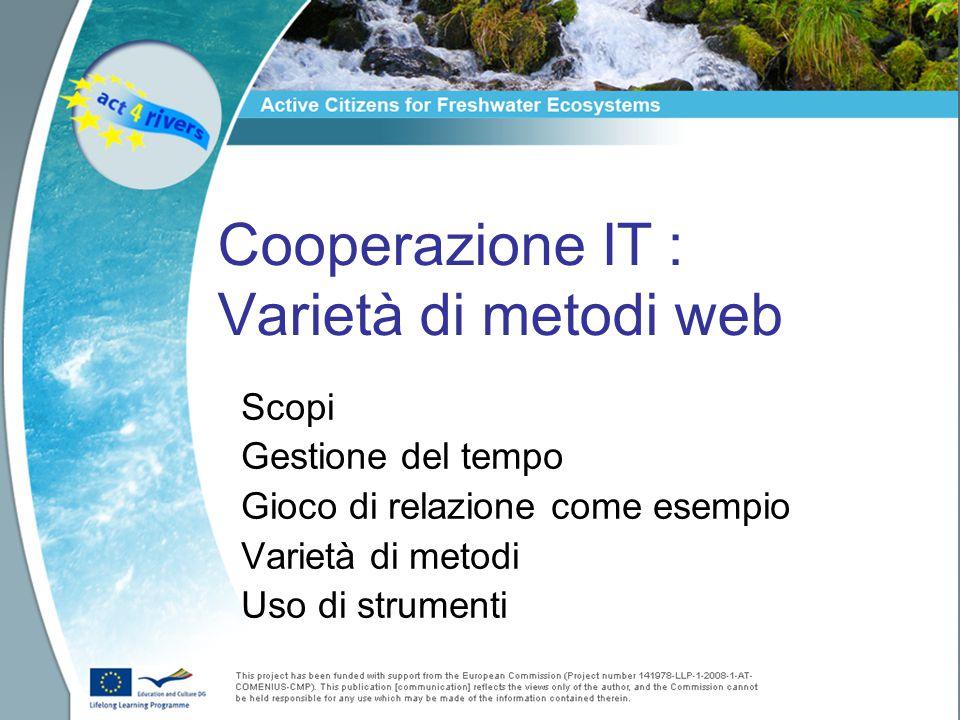 Cooperazione IT : Varietà di metodi web Scopi Gestione del tempo Gioco di relazione come esempio Varietà di metodi Uso di strumenti