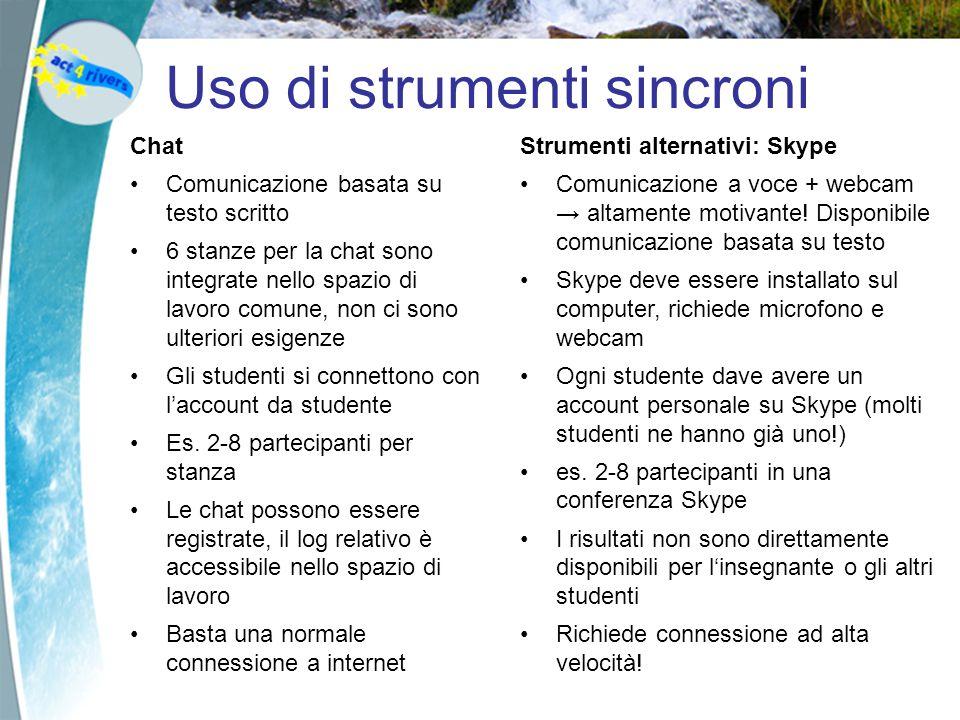Uso di strumenti sincroni Chat Comunicazione basata su testo scritto 6 stanze per la chat sono integrate nello spazio di lavoro comune, non ci sono ulteriori esigenze Gli studenti si connettono con l'account da studente Es.