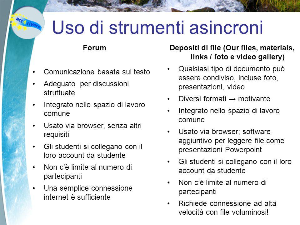 Uso di strumenti asincroni Forum Comunicazione basata sul testo Adeguato per discussioni struttuate Integrato nello spazio di lavoro comune Usato via