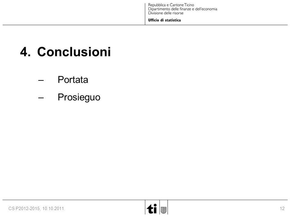 12CS P2012-2015, 10.10.2011. 4. Conclusioni –Portata –Prosieguo